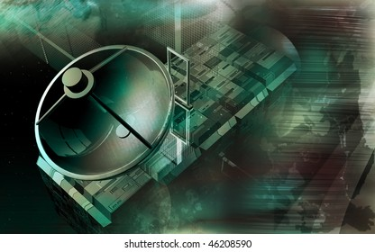 Digital illustration of satellite in colour background