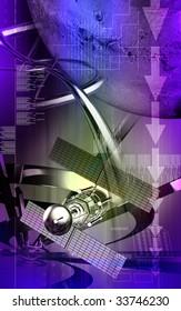 Digital illustration of satellite in colourful background