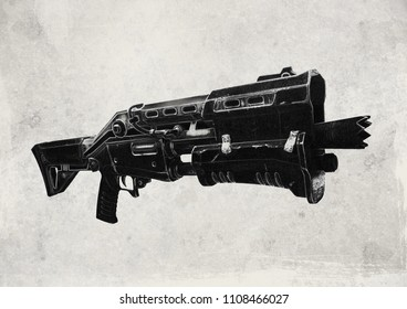 Digital Illustration of a shotgun weapon inspired by Fortnite's Battle Royale video game.