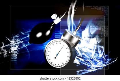 Digital illustration of sphygmomanometer in colour background