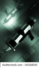 Digital illustration of spray gun in colour background