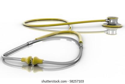 Digital illustration of stethoscope in 3d on white background