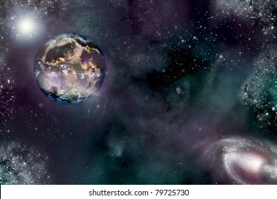 digital illustration of a strange planet in outer-space