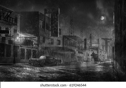 digital illustration of street alley view in a raining night with fall moon