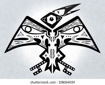 digital illustration of a symmetrical native american folk-art stylized mythical bird creature