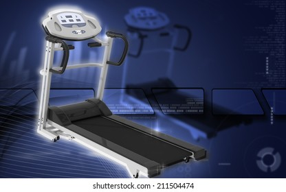 Digital illustration Treadmill in colour background
