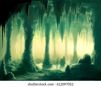 digital illustration of underground stalactites formation