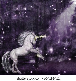 A digital illustration of a unicorn in a magical forest at night with pixies!