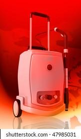Digital illustration of vacuum cleaner  in colour background