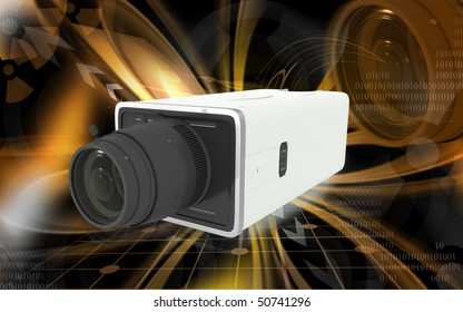 Digital illustration of video camera in colour background