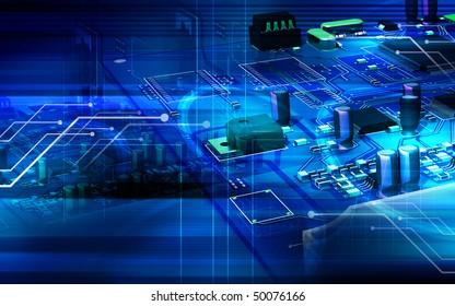Digital illustration of video capture card in colour background