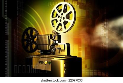 Digital illustration of vintage projector