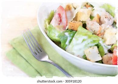 Digital illustration watercolor of salad