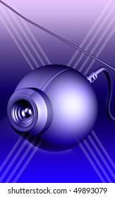 Digital illustration of a web camera in colour background