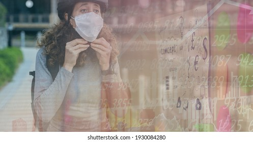 Digital illustration of a woman wearing a face mask, riding a bike over data processing, statistics showing in the background. Medicine public health pandemic coronavirus Covid 19 outbreak.