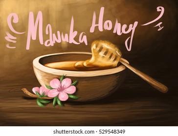 digital illustration of a wooden bowl of manuka honey