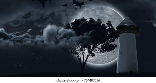 Digital image of silhouette bat against moon shining behind a tree and clouds and structure