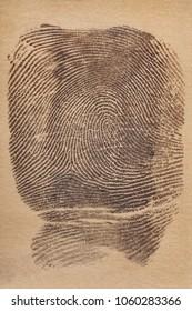 Digital ink fingerprint over a textured paper. Security control. Vertical