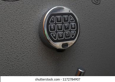 Digital keypad of lock on safe door
