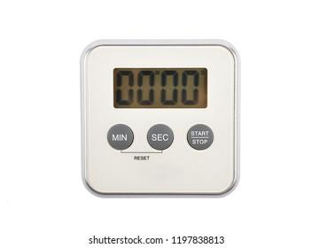 Digital kitchen timer on white background