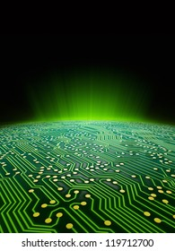 Digital landscape consisting of a glowing green sci-fi sunrise over a printed circuit board formatted for use as a report cover for a technology firm