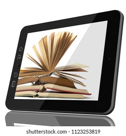 Digital Library Concept CGI - Open Book on teblet computer screen. 3D model isolated on white.
