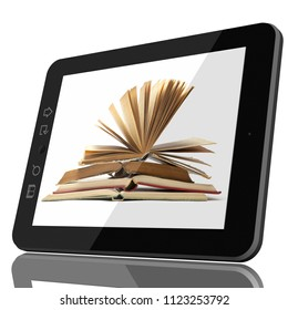 Digital Library Concept - Open Book on teblet computer screen. CGI 3D model isolated on white.