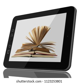 Digital Library Concept - Open Book on teblet computer screen. 3D model isolated on white. CGI
