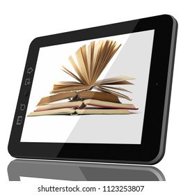 Digital Library Concept - Open Book on teblet computer screen. 3D model isolated on white.