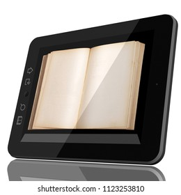 Digital Library Concept - Open Book on teblet computer touch screen. CGI 3D model isolated on white.