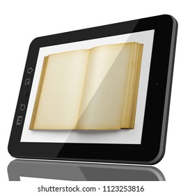 Digital Library Concept - Open Book on teblet computer screen. 3D CGI model isolated on white.