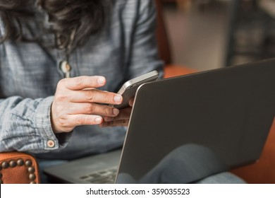 Digital lifestyle blog writer or business person using smart device working on internet communication technology