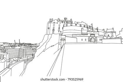 A digital line drawing of Edinburgh Castle, Scotland.