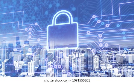 Digital lock icon on city background