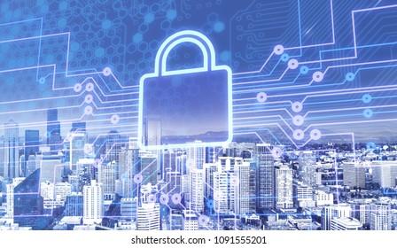 Digital lock icon on city background