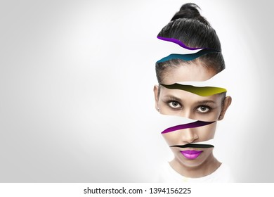 Digital manipulation of a Asian girl slice effect applied to face
