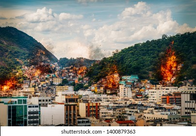 Digital manipulation of fires and smoke from possible gang warfare to control the drug trade in Rio de Janeiro, Brazil slums known as favelas