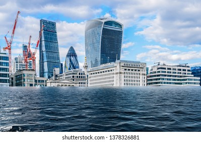 Digital manipulation of flooded City of London, UK - global warming, climate change concept.