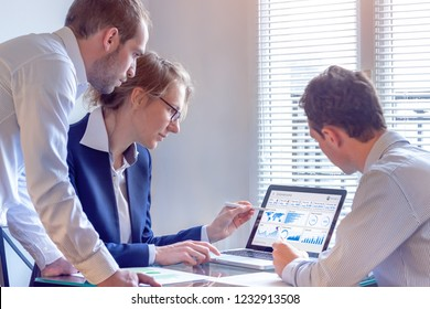 Digital marketing analyst people working on internet advertisement campaign analytics data on key performance indicator dashboard, metrics and KPI on computer screen, business strategy, investment