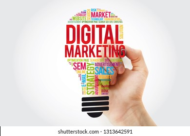 Digital Marketing bulb word cloud collage with marker, business concept background