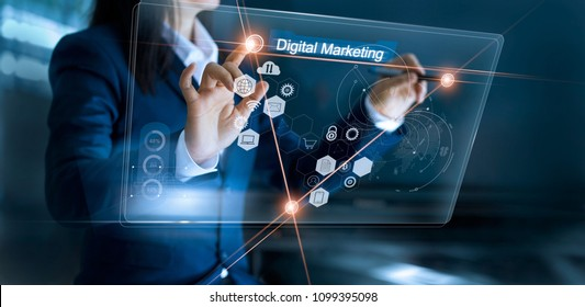Digital marketing. Business using and drawing global structure networking on modern interface payments online shopping. Icon customer network connection on virtual screen. Plan and strategy.