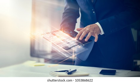 Photo of Digital marketing. Businessman using modern interface payments online shopping and icon customer network connection on virtual screen. Business innovation technology concept