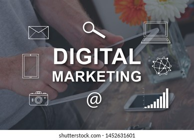 Digital marketing concept illustrated by a picture on background