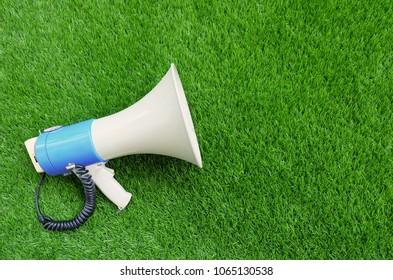 Digital marketing concept. Megaphone on the green background