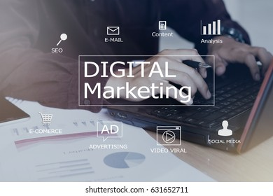 Digital marketing concept.blurred man using laptop or computer,color filters