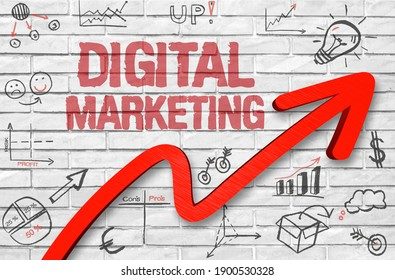 Digital Marketing in focus - concept on white brick wall with business success doodles