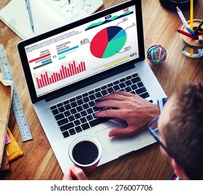Digital Marketing Graph Statistics Analysis Finance Market Concept