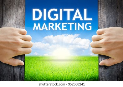 """Digital Marketing. Hand opening an old wooden door and found wording """"Digital Marketing"""" over green field and bright blue Sky Sunrise."""