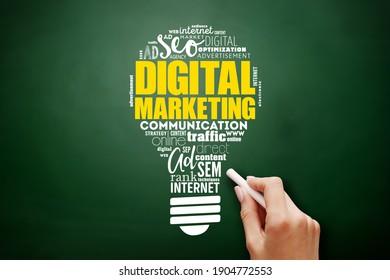 Digital Marketing light bulb word cloud, business concept background on blackboard
