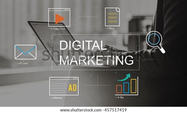 Digital Marketing Media Technology Graphic Concept